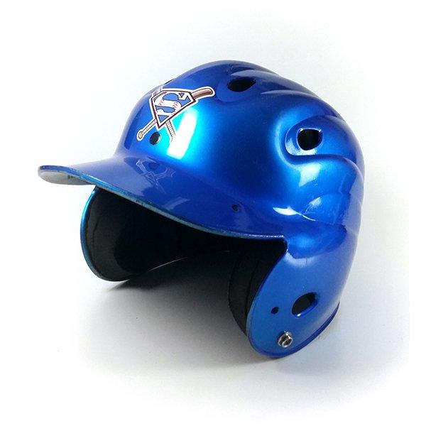 Blue baseball/softball helmet with team logo decal, side view
