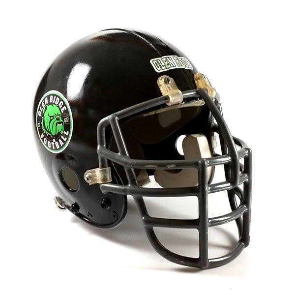 Black football helmet with team logo and team name decal.