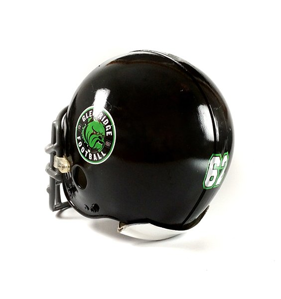 Black football helmet with team logo and athlete number decal.