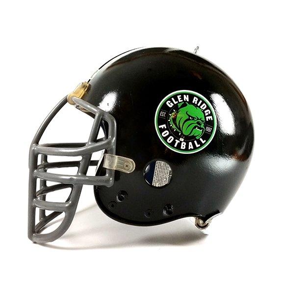 Black football helmet with team logo decal.
