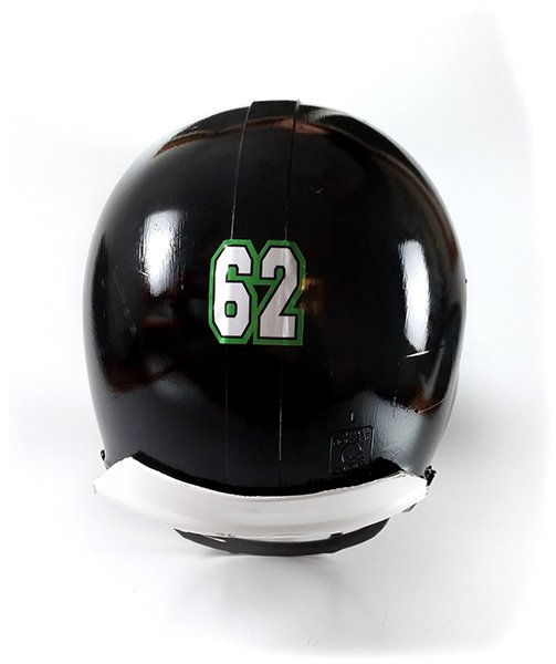 Black football helmet with athlete number decal