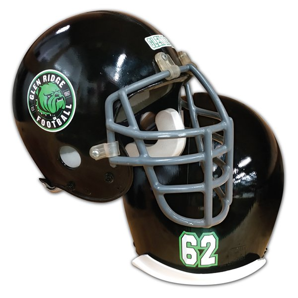 Black football helmet with team logo, team name, and athlete number decal.
