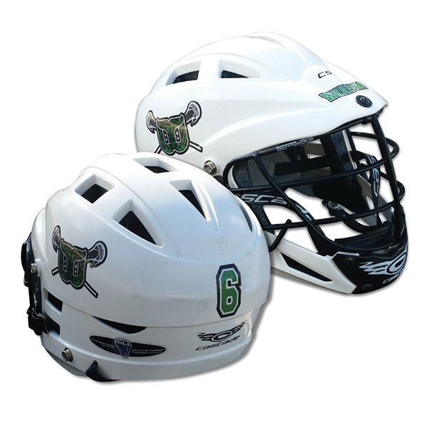 White lacrosse helmets with team logo, team name, and athlete number decal.