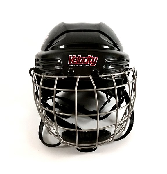 Black hockey helmet with team name decal.