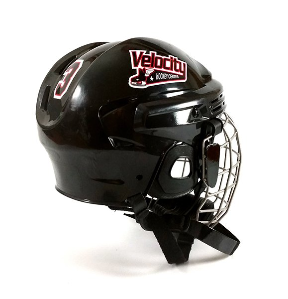 Black hockey helmet with team logo decal and athlete number decal.