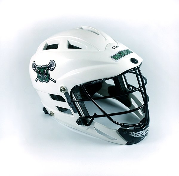 White lacrosse helmet with team logo decal and team name decal, side view