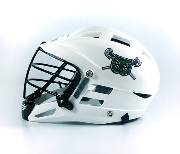 White lacrosse helmet with team logo decal side view