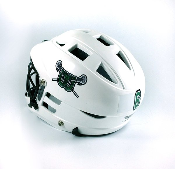 White lacrosse helmet with team logo decal